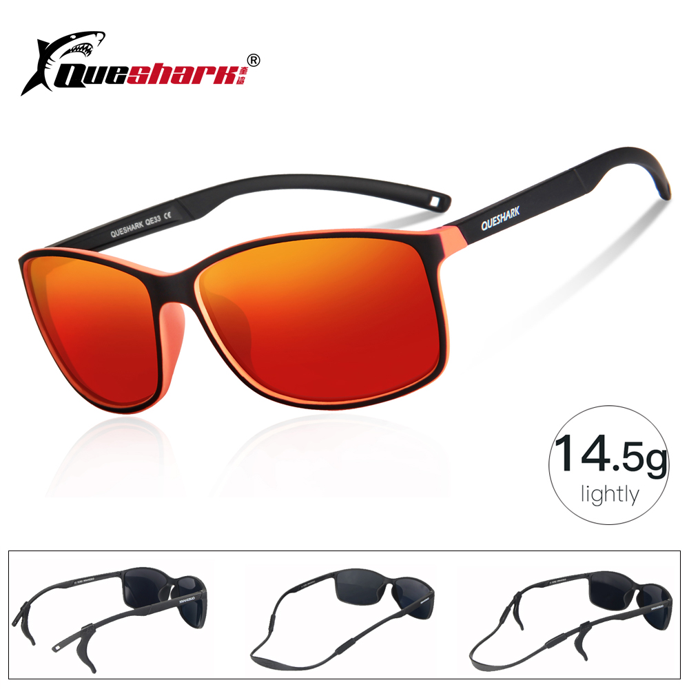 QUESHARK Lightweight Polarized Fishing Sunglasses Uv400 TR90 Frame Fisherman Hiking Camping Skiing Glasses Sport Fishing Eyewear