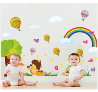 2 PCS SET Large Size Rainbow Cartoon Wall Stickers For Kids Room Decorations Cartoon Decals Wall