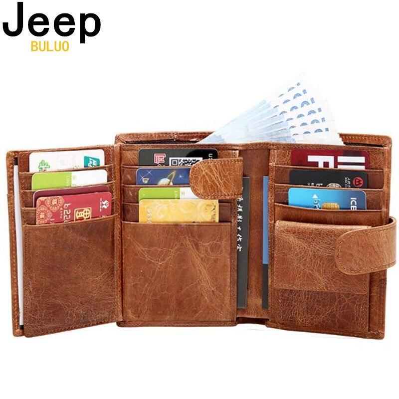Jeep marca de cuero genuino de vaca de las mujeres de los hombres de moda bolsillo monedero triple diseño hombres bolso de alta calidad para señoras tarjeta de identificación titular de la