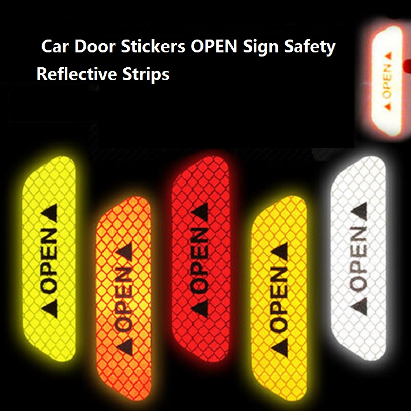 Car Door Stickers Universal Safety Warning Mark OPEN High Reflective Tape Auto Exterior Motorcycle Bike Helmet Sticker 4Pcs/set
