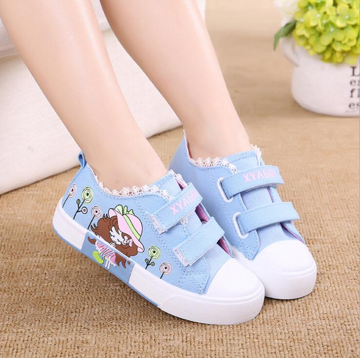 Fashion Students Casual Shoes Children Kids Girl Canvas Shoes Princess Sneakers