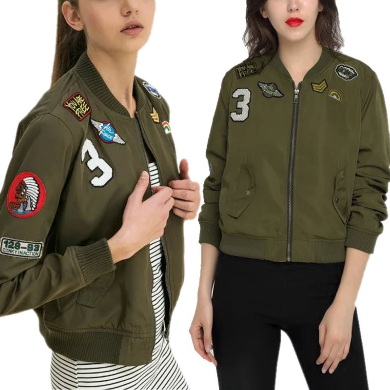 Women Fashion Army Green Flight Bomber   Jackets     Basic     Jacket   Casual Embroidered Patch Solid Coats
