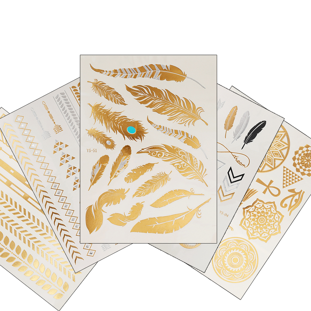 1PC Flash Metallic Waterproof Tattoo Gold Silver Women Fashion Henna YS-51 Peacock Feather Design Temporary Tattoo Stick Paster flash gold