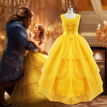 Movie Beauty and the Beast Belle princess Dress Cosplay Costumes for Adult  women female Halloween Party 8882d407422f