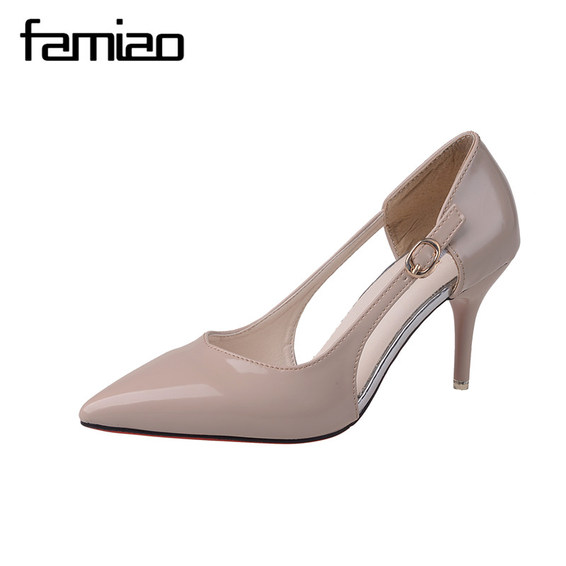 FAMIAO Sexy Point Toe Patent Leahter High Heels Pumps Shoes 2017 Newest Woman's Red Sandals Heels Shoes Wedding Shoes shoesofdream women s 2015 summer peep pointed toe red anke strap patent leahter sexy spike high heels