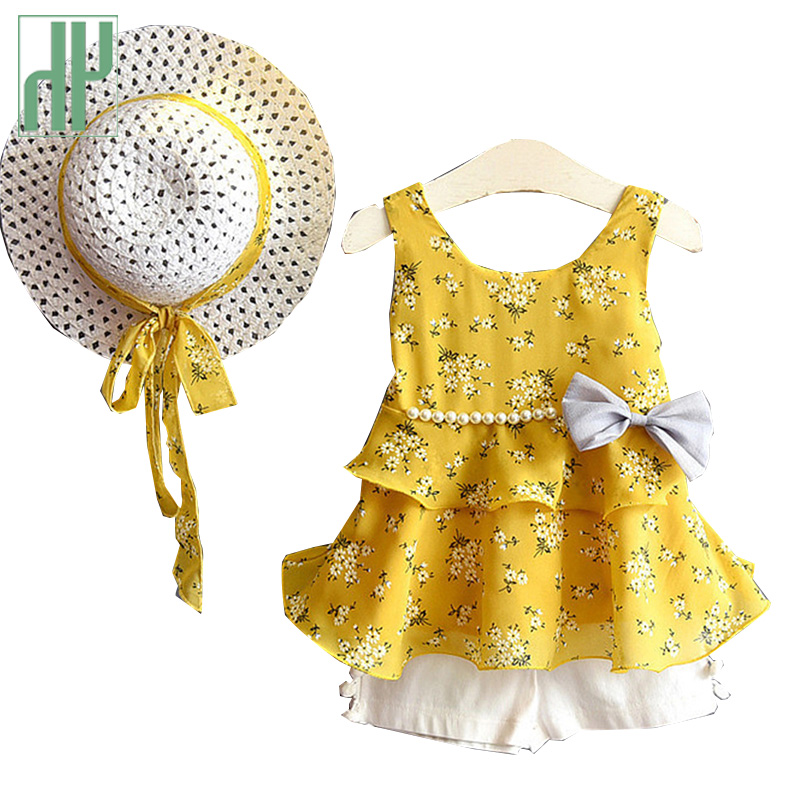 Kids Girls Clothes Sets Summer Children Clothes Bohemia Casual Sleeveless T shirt shorts sun Hat Kids Clothing 3pcs Suit in Clothing Sets from Mother Kids