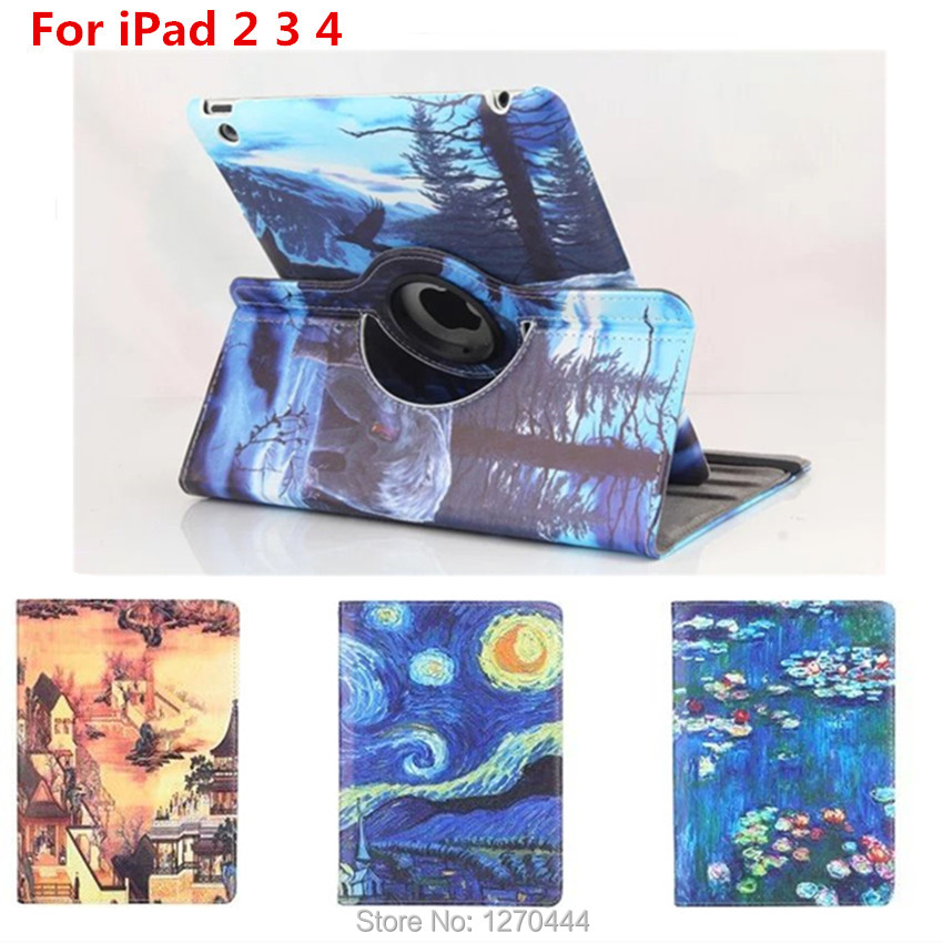 360 Degree Rotating Leather Cover for ipad 2 ipad 3 iPad 4 tablet for ipad case 2 3 4 Retina Smart Colorful Painting Stand Cover