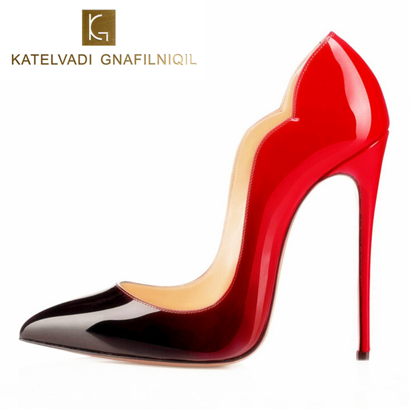 Brand Women Shoes High Heels 12CM Sexy Pumps Shoes For Women Patent Leather High Heels Wedding Shoes Woman High Heel B-0054 bonjomarisa 2018 summer brand sexy women mules print patent leather pumps crystal high heels party wedding shoes woman