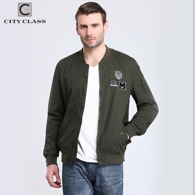 CITY CLASS 2017 Mens Bomber Jackets 100% Washed Cotton Casual Windbreakers Fashion Badges Muti-colors Military Costume 3802