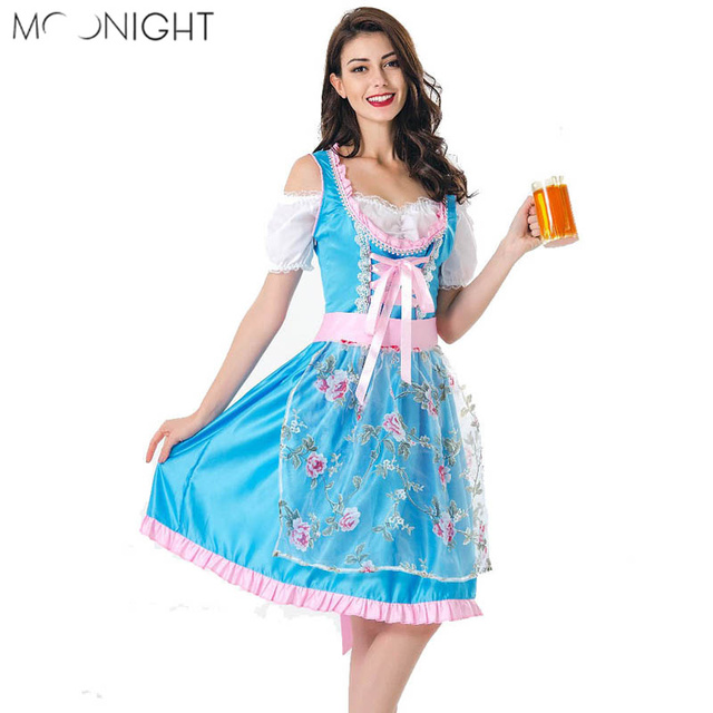 1b961405e43 Aliexpress.com : Buy MOONIGHT Oktoberfest Beer Girl Costume Maid Wench  Germany Bavarian Halloween Costume Fancy Dress Dirndl For Women from  Reliable ...