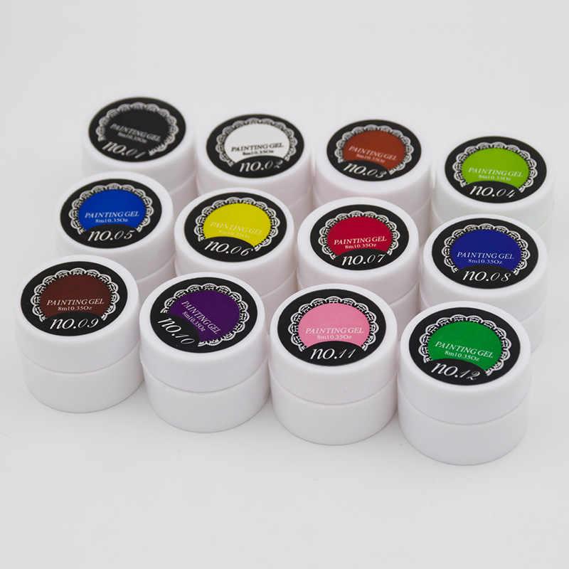 Ellwings paillettes peinture UV Gel vernis à ongles Semi Permanent bricolage français autocollant Nail Art 12 couleurs dessin Gel vernis