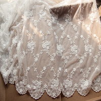White Gauze Lace Handmade Cloth Fabri Clothing Embroidery Yarn Net Screen 1 2 Meters Wide YN648