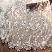 White Gauze Lace Handmade Cloth Fabri Clothing Embroidery Yarn Net Screen 1 2 Meters Wide YN648