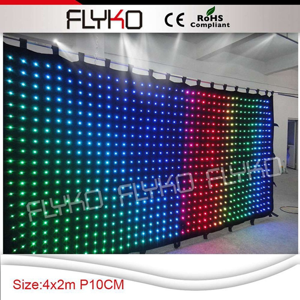 Free shipping P100 2X4M full color Digital control LED Viedo curtain on sale with sound system
