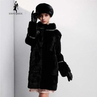 Young Fashion mink fur coat Brand fur coat 4 colors optional Genuine Leather fur coats for women Round neck mink