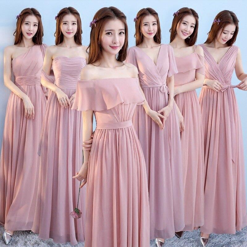 Robe de mariée demoiselle d'honneur élégante rose améliorée femmes chinoises longue Slim Qipao fille Sexy pleine longueur en mousseline de soie Qipao Vestidos