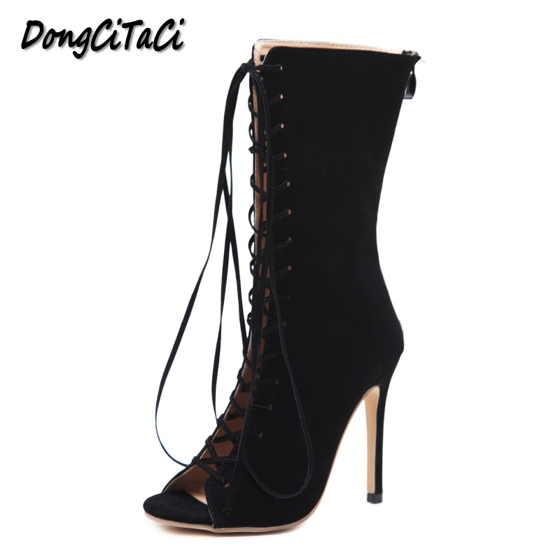 DongCiTaCi New Women Pumps Fashion Wedding Party High Heels Gladiator Sandals Shoes Woman Stilettos Cross Strap Peep toe shoes new women gladiator sandals ladies pumps high heels shoes woman clear transparent t strap party wedding dress thick crystal heel