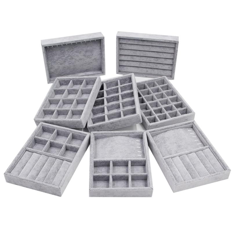 200*150*30mm DIY Jewelry Box Drawer Storage Organizer Gray Soft Velvet Jewellery Earring Necklace Pendant Bracelet Tray 8 Option