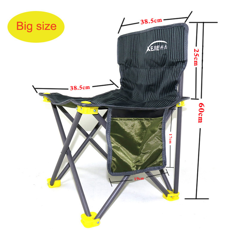 portable folding fishing chair Backrest durable chair fishing Metal Nylon Oxford cloth Outdoor fishing supplies with pocket seat oxford cloth lightweight 3 in 1 outdoor portable multifunctional foldable cooler bag chair backpack fishing stool chair