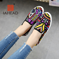 2016 Spring Autumn Women Shoes Canvas Art Breathable Graffiti Shoes Flat Driving Loafers Casual Flats Round Toe Shoe TW-L04