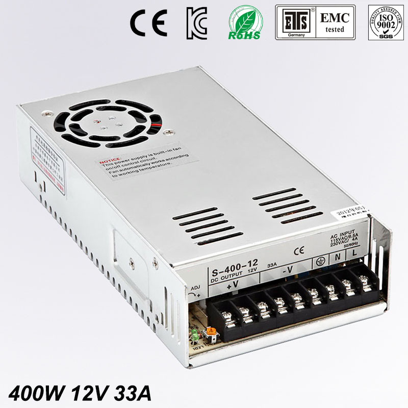 Universal 12V 33A 400W Regulated Switching Power Supply Transformer100-240V AC to DC For LED Strip Light Lighting CNC CCTV MOTOR dc power supply 36v 9 7a 350w led driver transformer 110v 240v ac to dc36v power adapter for strip lamp cnc cctv