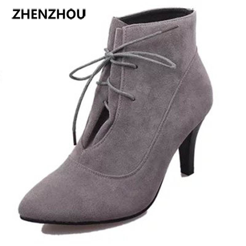 zhenzhou 2015 autumn and winter The new Europe and the United States Fine point with High-heeled boots suede Naked boots boots europe and the united states 2015 new spring shoes and high heeled shoes asakuchi pointy suede 35 41 code