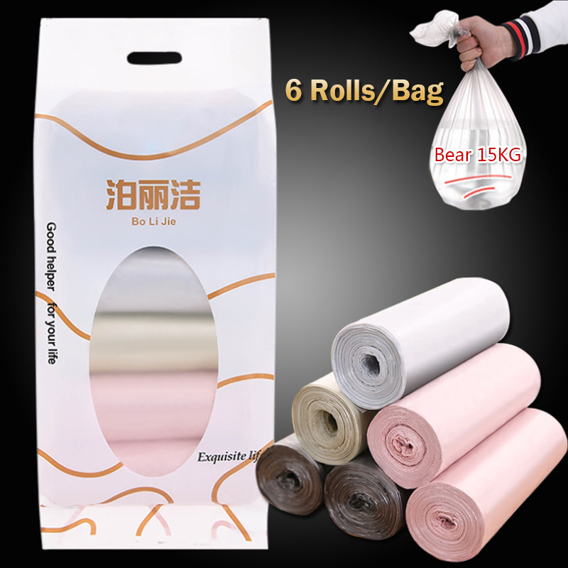 6 Rolls Thicken Kitchen Garbage Bag Household Points Off Convenient Environmental Trash Can Bin Rubbish Disposable Plastic Bags