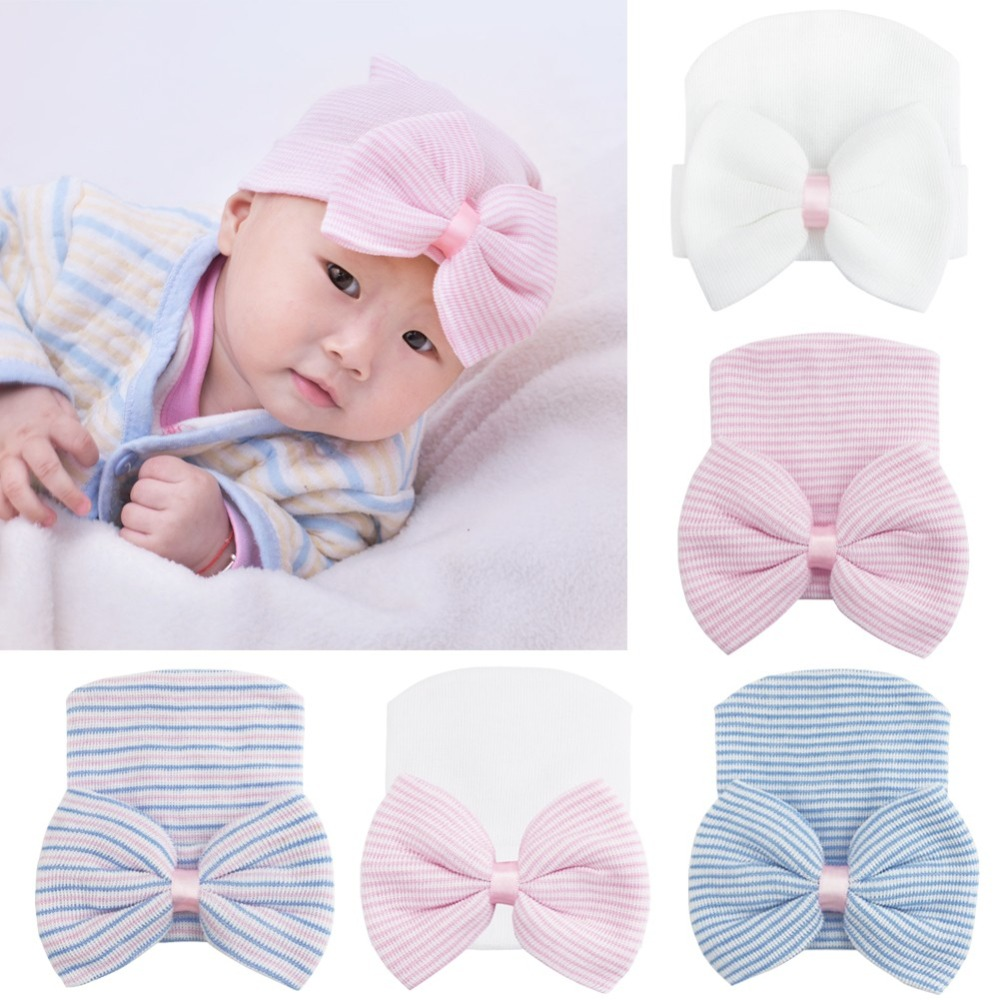 iEFiEL Cute Newborn Infant Girls Boys Warm Cotton Soft Stretchy Bow Knot  Beanie Hat Cap Photo Props Baby Beanies Accessories 2b1895cd2a9