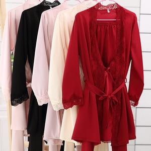 Image 2 - Ladies Sexy Silk Satin Pajama Set Lace Sleepwear Set Fashion Home Clothing V neck Nightwear Bathrobe+Top+Pant 3 Pieces For Women