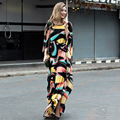 HIGH QUALITY Newest 2017 Designer Maxi Dress Women's Batwing Sleeve Painting Print Loose Long Dress Holiday Dress