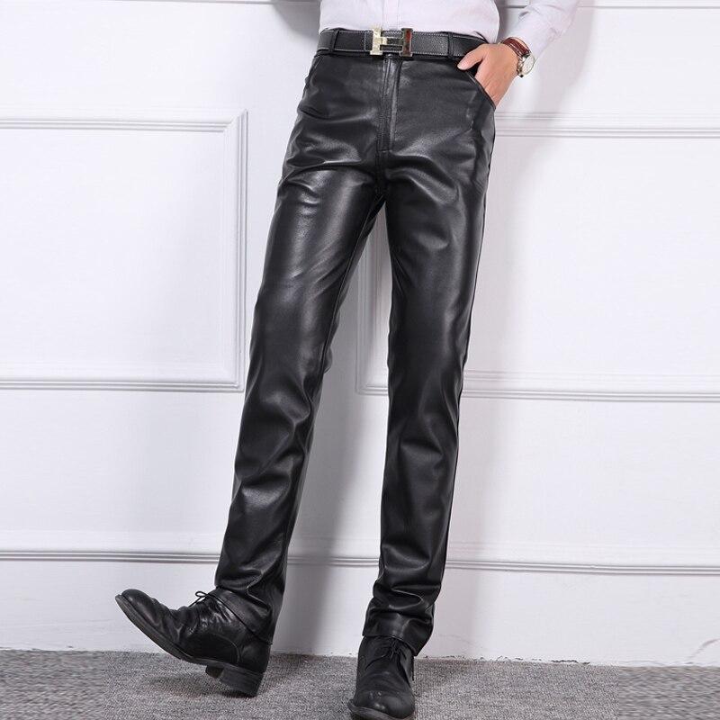 29 # ~ 40 # осенние зимние брюки оверсайз мужские модные эластичные талии из натуральной овчины облегающие брюки мужские теплые толстые брюки
