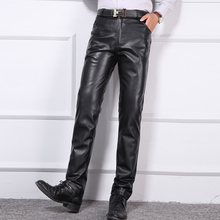 MIXCUBIC Autumn England style washed skinny Coating leather pants black slim fit