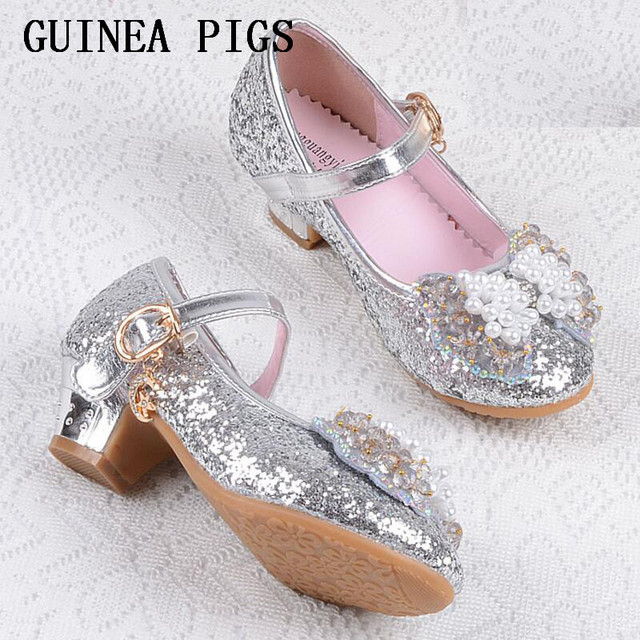 Children Princess Sandals Kids Girls Wedding Shoes High Heels Dress Shoes Bowtie Gold Shoes For Girls White Pink GUINEA PIGS