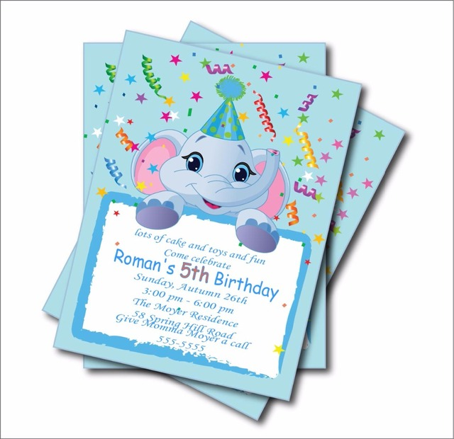 20 Pcs Lot Elephant Noticeboard Birthday Party Invitations Baby Shower Invites Nursery Decoration Supplier