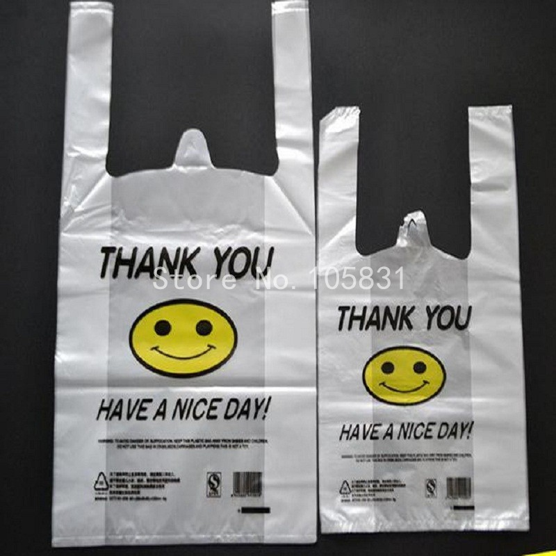 100x Supermarket Custom Biodegradable Transpa Pe Ldpe Hdpe Packaging T Shirt Ping Plastic Bag Smile Thank You In Storage Bags From Home Garden