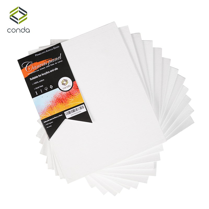 CONDA 20x25.4cm (8x10inch) Canvas Panels Pack of 12 Artist Quality Acid Free Canvas Board Oil Painting Board Art Supplies