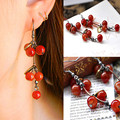 ES024 Cherry Stud Earrings Long Vintage Brincos earring Jewelry For Women New pattern earrings Wholesales 2017