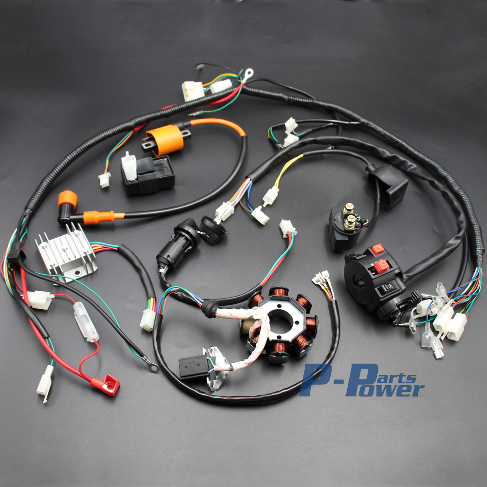 hight resolution of full electrics wiring harness cdi ignition coil rectifier switch system wiring harness 18 coil 250cc wiring harness