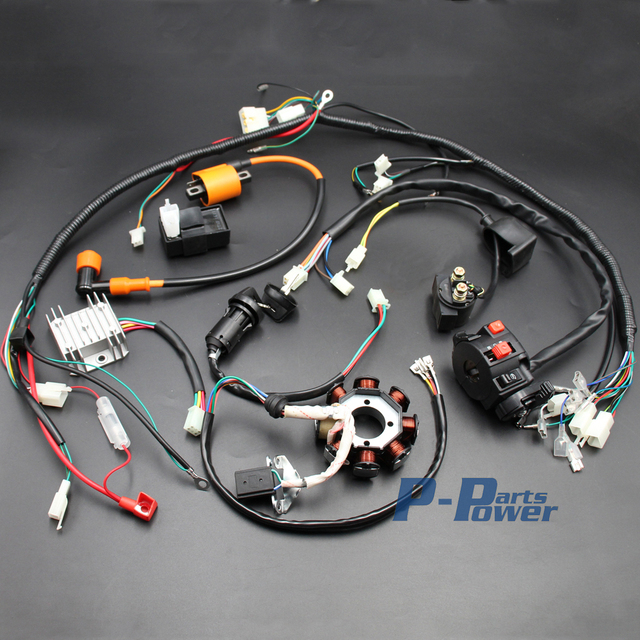Complete Electrics Atv Quad 150cc 200cc 250cc 300cc 3 Holes Stator Cdi Coil Wire Harness