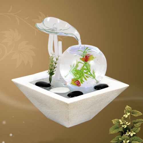 Lucky Feng Shui Fish Tank Water Fountain New House Living Room Table Ornaments Gifts Office