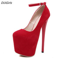 DiJiGirls 20cm platform heels Women Pumps Ankle Strap Red Thick Bottom Womens Fetish High Heels Nightclub Stiletto Bandage Shoes