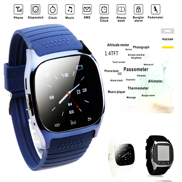 US $13 19 |ALtimeter camera watch sms phone call qq android mms step track  waterproof bluetooth temperature 1 4tft alert Smart Wristband -in Digital