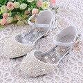 Girls Pearls Shoes Princess Shoes Toe Cap Brand Shinny Fashion Kids Dress Sandals Party Dance EU26-38 Girls Pearls Shoes