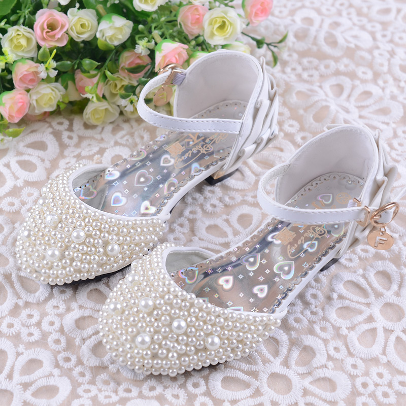 Girls Pearls Shoes Princess Shoes Toe Cap Brand Shinny Fashion Kids Dress Sandals Party Dance High Heel 26-38 Girls Pearls Shoes kids glitter sandals elegant princess dance wedding dance party leather shoes heel student