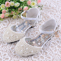 Girls Pearls Shoes Princess Shoes Toe Cap Brand Shinny Fashion Kids Dress Sandals Party Dance High Heel 26-38 Girls Pearls Shoes
