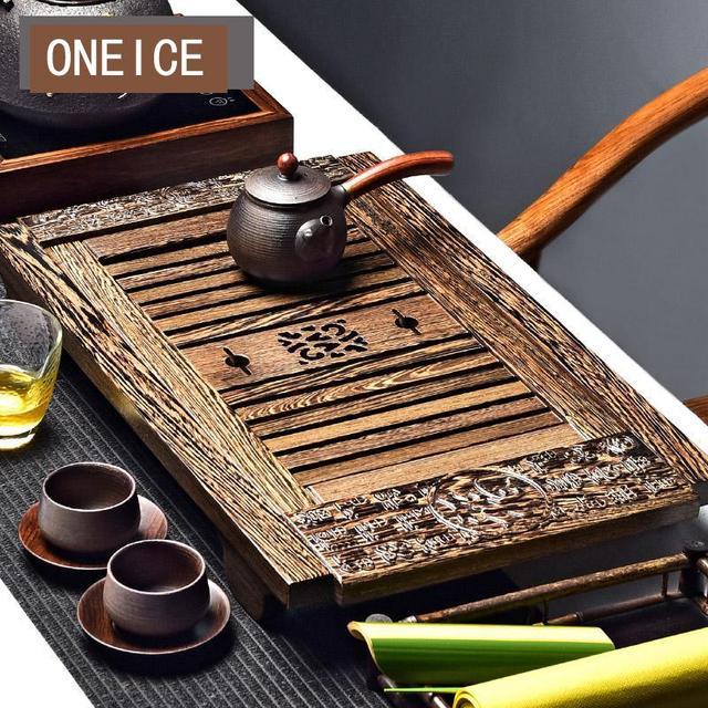 US $226 86 5% OFF|Kungfu Tea Set Chicken Wing Wood Solid Tray Ebony Hand  Taiwan Storage Water Sea Chinese Kung Fu Bamboo Tea Trays-in Tea Trays from
