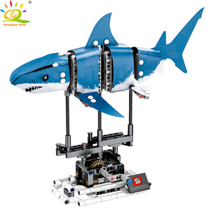 Image 4 - HUIQIBAO 342Pcs Simulated Animal Fish DIY Model Building Blocks Sets Technic Ideas City Bricks Educational Toys for Children Boy