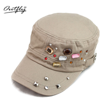 Outfly new elegant top caps Handmade bead flat hat summer baseball cap for women fashion design girl casual beauty