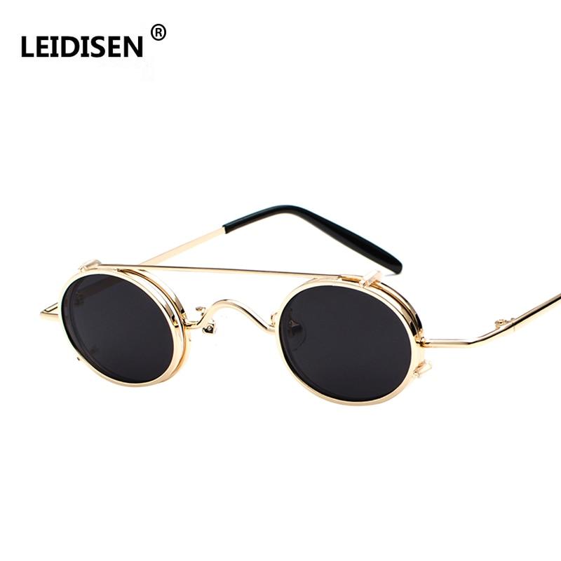 a70d2be2455 LEIDISEN Steampunk Sunglasses Men Women Oval Clip On Brand Designer Sunglasses  Metal Gothic 2018 NEW Glass