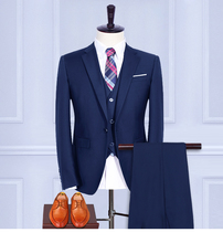 (Jacket+Pants+Vest+shirt+tie) Wool Blue Retro gentleman style Men's suits tailor suit Blazer men formal prom wedding party